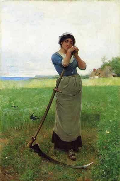 19th century painting of English woman with scythe -- by Henry Bacon