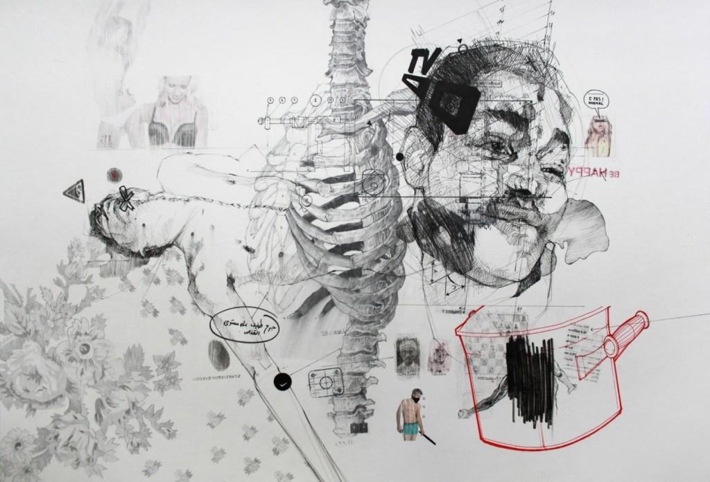 """Lucrare în tuş şi grafit pe hârtie, din seria """"La ce visează martirii 2"""", a artistului tunisian Nidhal Chamekh"""