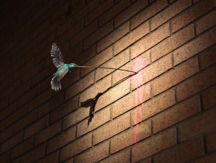Image #: 38872615    A hummingbird piece by Banksy, during the press view for the artist's biggest show to date, entitled 'Dismaland', at Tropicana in Western-super-Mare, Somerset.       PA PHOTOS /LANDOV