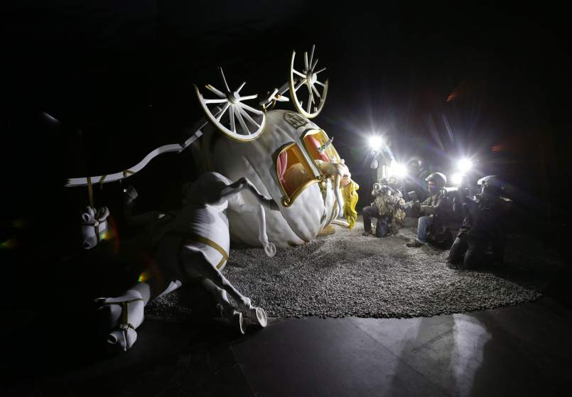 Image #: 38871484    A piece by Banksy goes on display during the press view of Dismaland, the artist's biggest show to date, in Western-super-Mare, Somerset.       PA PHOTOS /LANDOV