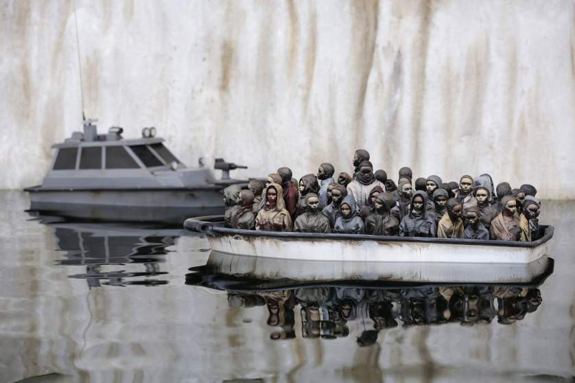 Image #: 38872234    A boat pond piece by Banksy, during the press view for the artistâ??s biggest show to date, entitled 'Dismaland', at Tropicana in Western-super-Mare, Somerset.       PA PHOTOS /LANDOV