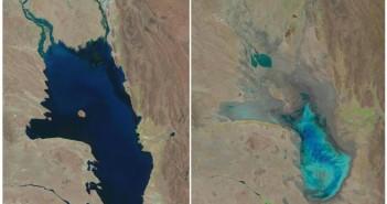 Lacul Poopo, în 1986 (stânga) și în 2016 (dreapta)