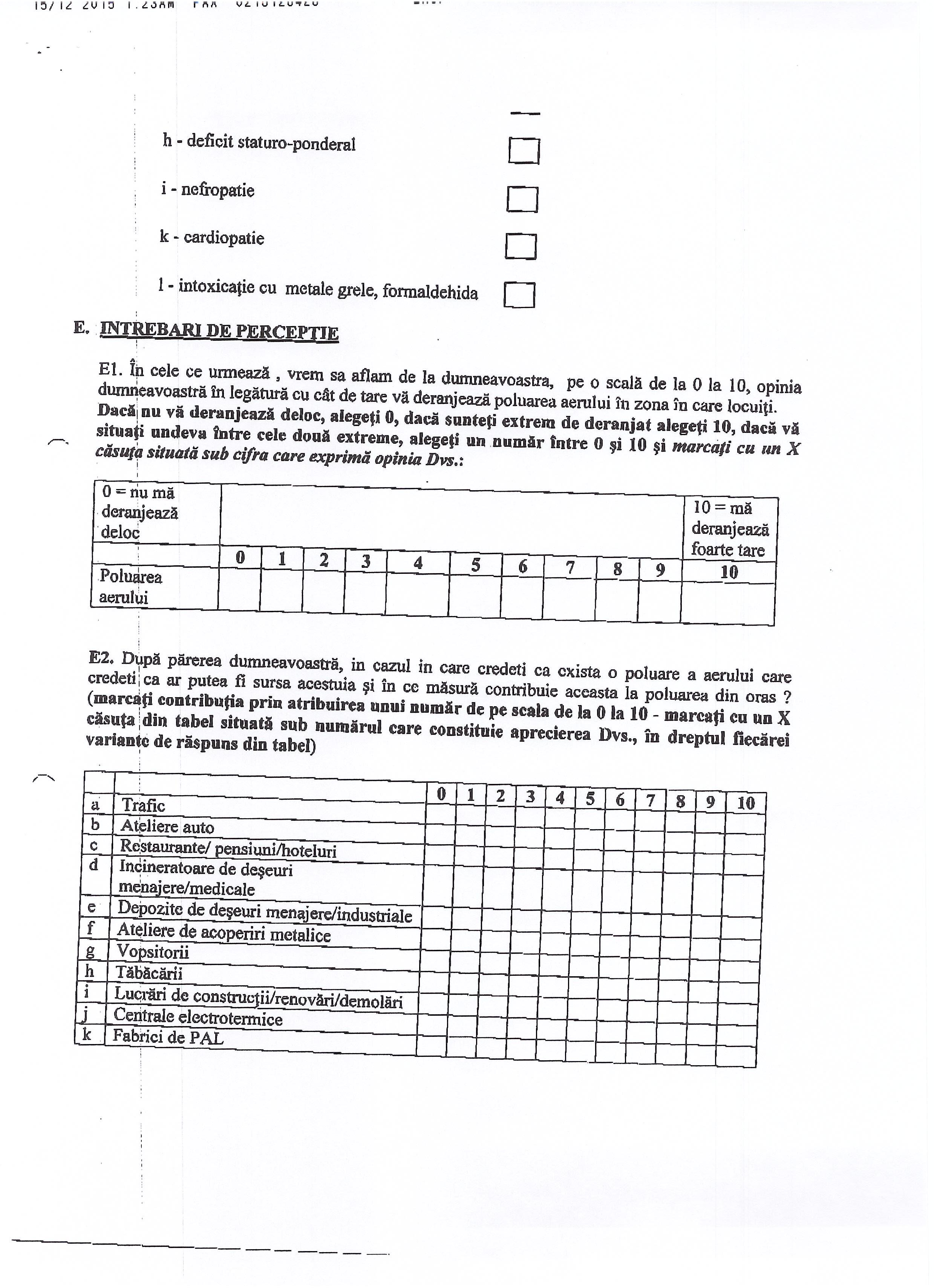Pagină din ceshtionarul aplicat de primăria Sebeș, privind percepția subiectivă a locuitorilor legată de sănătate și mediu