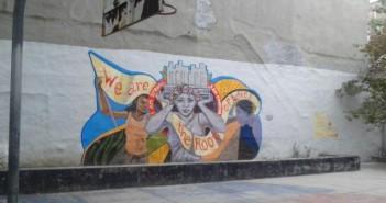 O pictură murală marca Groundswell având ca temă violenţa asupra femeilor