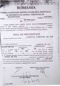 Titlul de proprietate eliberat, în iunie 2010, de Comisia județeană Hunedoara către comuna Certeju de Sus. Aproape 58 de hectare se regăsesc pe terenul Obștei