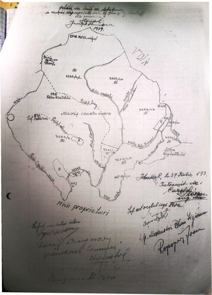 Plan linie de defalcare din 1939, menţionat în Cartea Funciară cu ocazia aplicării Reformei agrare. Se observă partea expropriată între Pârâul Căpitanului şi   Piciorul Lung. Porţiunea situată de-a lungul Văii Măcrişului a fost vândută ulterior Obştei. O parte a ajuns într-un mod ciudat în proprietatea Primăriei Certeju de   Sus, care a concesionat-o către Deva Gold