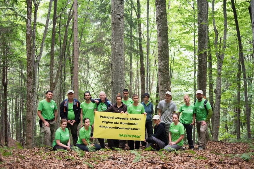 Voluntarii Greenpeace afișând un banner în timpul unei zile de documentare © Dan Câmpean/ Greenpeace